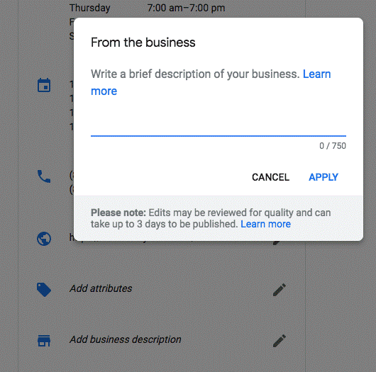 Google Business Listing Description